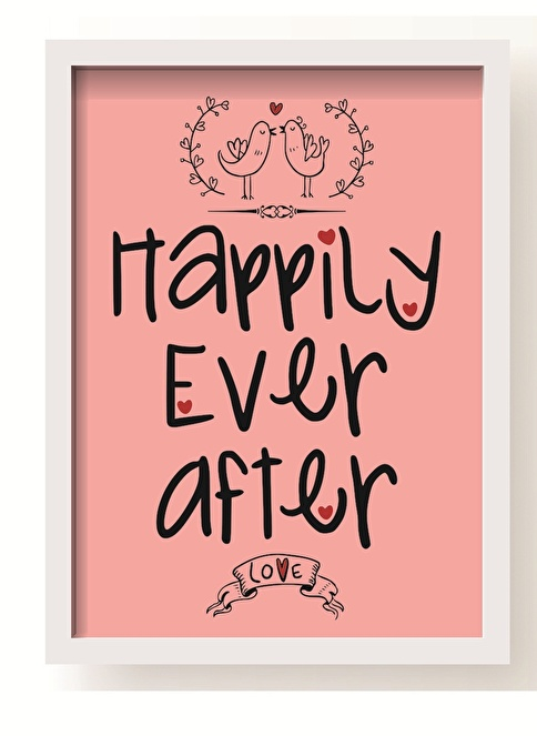 All About Wall Happily Handwrite Poster Pembe